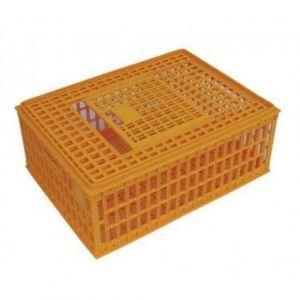 Cage transport poules 77x55x33cm avec poignées et porte coulissante