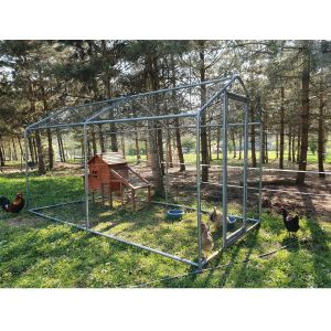 Grand enclos poulailler parc grillagé renforcé tubes 32mm 2x4x2,25m côté