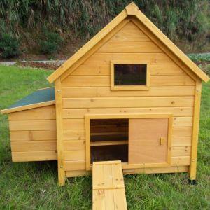 Poulailler-Cémani-L-toit-shingle-vert-4-à-6-poules-vue-face-avant