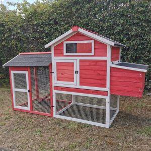 Poulailler-Columbus-rouge-3-à-4-poules-profil-avant