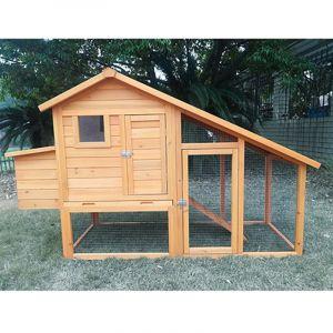 Poulailler King toit shingle noir 2 à 4 poules bois FSC vue face avant fermé