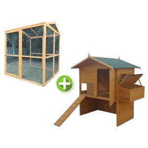 Poulailler Vorwerk jusqu'à 18 poules toit shingle avec extension parc grillagé