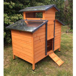Poulailler Farmer L toit tôle 4 à 6 poules Bois FSC vue avant profil